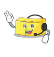 with headphone butter mascot cartoon style vector image