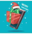 year greating gift card mobile phone vector image