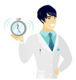 young asian doctor holding alarm clock vector image vector image