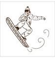 Snowboarding jumping man vector image