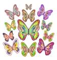 Twelve bright colourful butterflies vector image