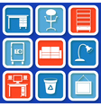 Set of 8 retro icons with office furniture vector image