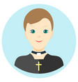 icon man priest in a flat style image on a vector image