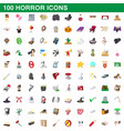 100 horror icons set cartoon style vector image vector image