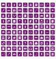 100 library icons set grunge purple vector image vector image