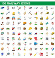 100 railway icons set cartoon style vector image