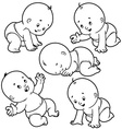 Baby toddler set with babies in diapers crawling vector image vector image