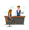 bartender with bar counter vector image