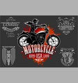 beautiful girl on a motorcycle draw in retro style vector image vector image