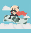 businessman standing on money flying vector image vector image