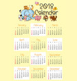 calendar template for 2018 with cute animals vector image vector image