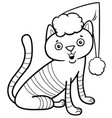 cat on christmas coloring book vector image vector image