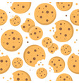 chocolate chips cookies seamless pattern bakery vector image