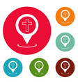 church map pointer icons circle set vector image vector image
