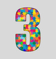 Color Puzzle Number - 3 Three Gigsaw Piece vector image