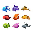 cute cartoon colorful fishes set vector image vector image