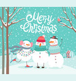 cute snowmen hugging merry christmas card vector image vector image