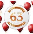 Golden number sixty three years anniversary vector image vector image