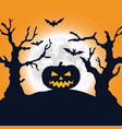 halloween night background pumpkin and full moon vector image