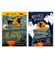 halloween party poster of pumpkin ghost and which vector image vector image