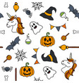 halloween things unicorn cute doodle seamless vector image