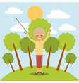 happy grandmother with arms up in the park vector image vector image