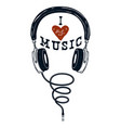 i love music hand drawn headphones design vector image vector image