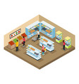 isometric supermarket interior concept vector image vector image