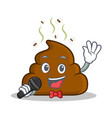 karaoke poop emoticon character cartoon vector image vector image