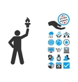 Leader With Freedom Torch Flat Icon With vector image
