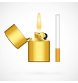 lighter and cigarette vector image vector image