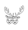 line cute elk head animal couple together vector image vector image