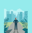 man standing on street looking at the vector image vector image