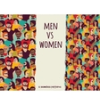 Men vs women crowd people color seamless patterns vector image