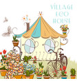 nice with little village house vector image vector image