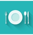 Plate with cutlery - fork spoon and knife - long vector image