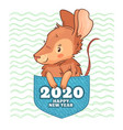 pocket rat happy new year 2020 cute cartoon rat vector image vector image