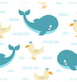 seamless pattern with cartoon whale and seagull vector image vector image