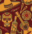 seamless pattern with traditional mexican symbols vector image