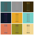set of icons in flat design ski poles vector image vector image