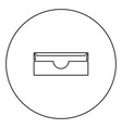 stationary paper tray black icon in circle outline vector image vector image