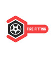 tire fitting logo with wrench vector image vector image