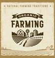 vintage organic farming label vector image vector image