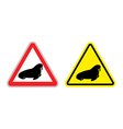 Warning sign attention walrus Hazard yellow sign vector image vector image