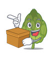 with box artichoke character cartoon style vector image