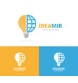 lamp and planet logo combination lightbulb vector image