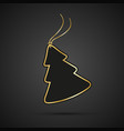 modern golden christmas tree with string on black vector image