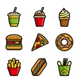 Fast food colored icon set vector image