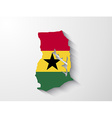 Ghana country map with shadow effect presentation vector image