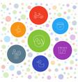 7 fun icons vector image vector image